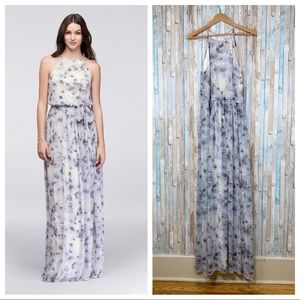 New Donna Morgan 10 Blue Alana Floral Gown Dress
